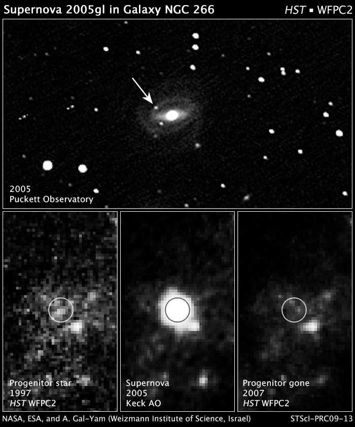 Acima, uma fotografia terrestre de 2005 da estrela em explosão SN 2005gl na galáxia NGC 266. Abaixo a esquerda: uma imagem do arquivo de Hubble em luz visível de 1997 da região da galáxia onde explodiu a supernova. O círculo branco marca a estrela progenitora. Abaixo no centro: imagem em infravermelho pelo telescópio Keck da explosão de supernova em 2005. Abaixo a direita: Imagem do cenário pós-supernova em luz visível do Hubble tomada em 26 de setembro de 2007. Observa-se uma fonte brilhante nas três imagens, à direita embaixo, perto do local da supernova, mas a estrela progenitora desapareceu na foto tomada pelo Hubble após a supernova ter evanescido.